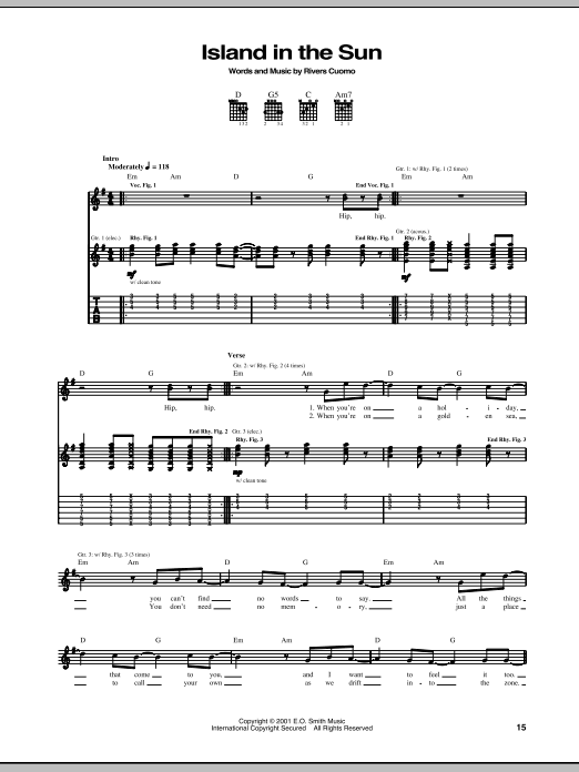 Download Guitar Tab sheet music to Island In The Sun by Weezer and ...