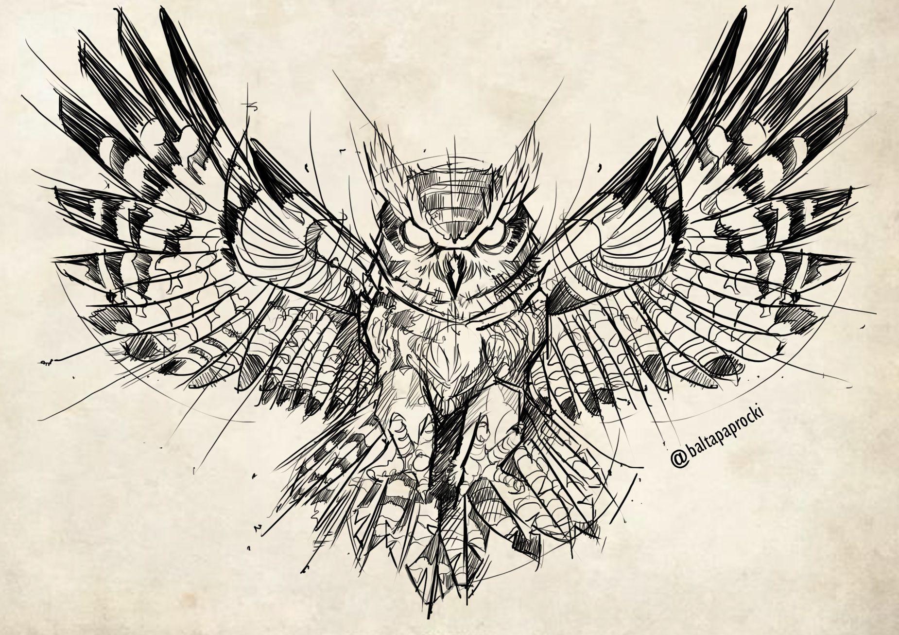 Owl Sketch Owl Tattoo Drawings Owl Sketch Tattoo Drawings