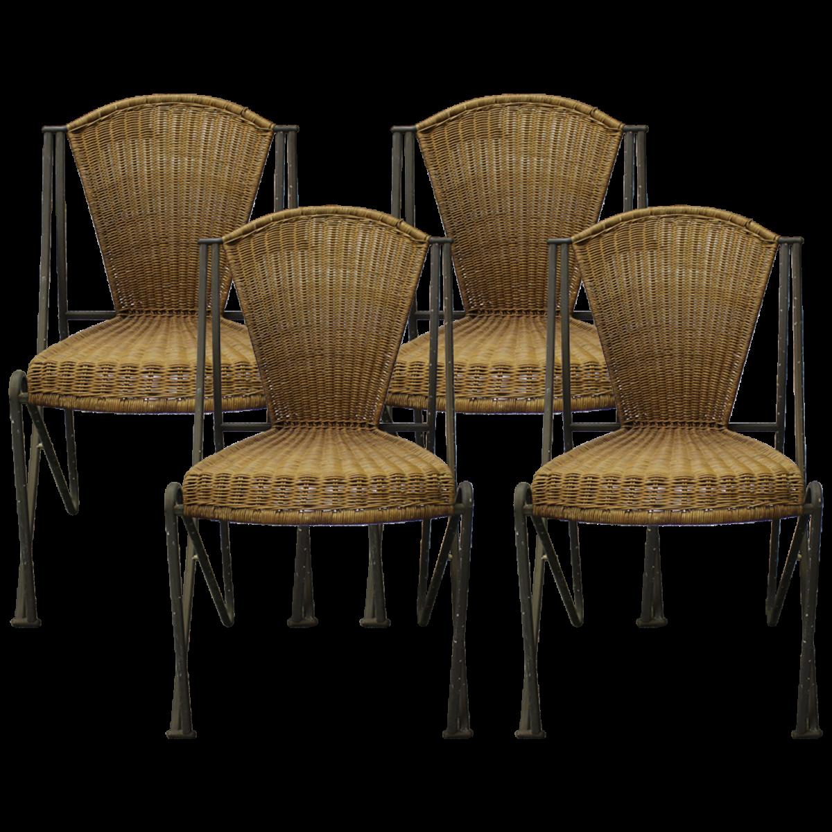 DRIADE Wicker and Powder Coated Bronze Abanica Chairs ...