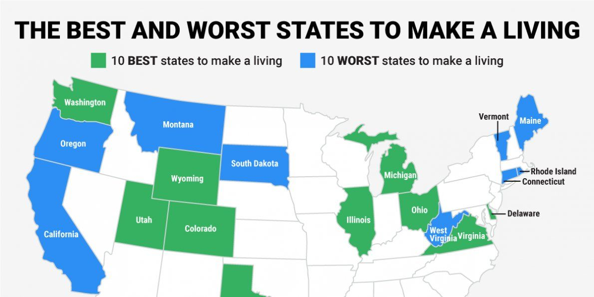 The Best And Worst States For Making A Living In 2015 With Images
