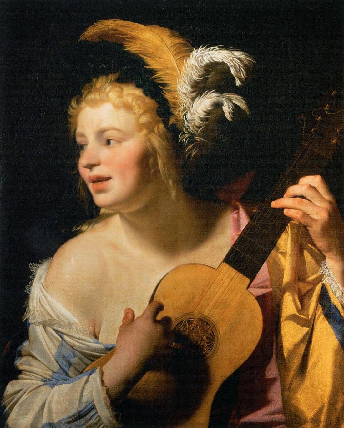Woman Playing the Guitar - Gerrit van Honthorst (1624)