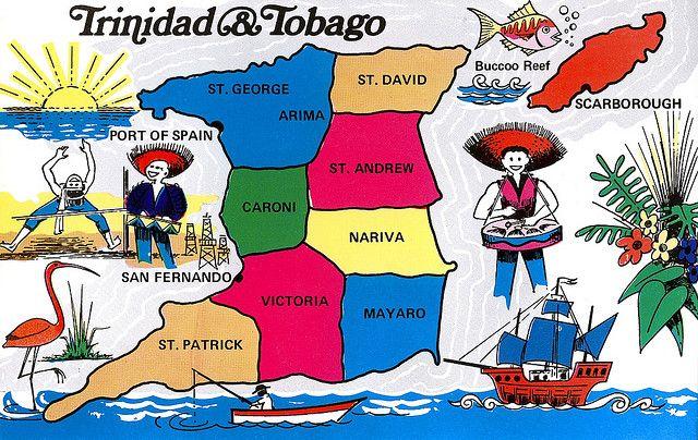 Trinidad And Tobago Map Card Trinidad Tobago Map Tobago Map