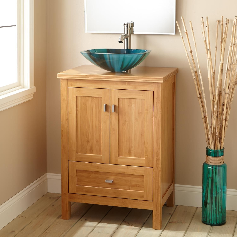 NarrowDepthAlcottBambooVesselSinkVanitywithMatching - Depth of bathroom vanity for bathroom decor ideas