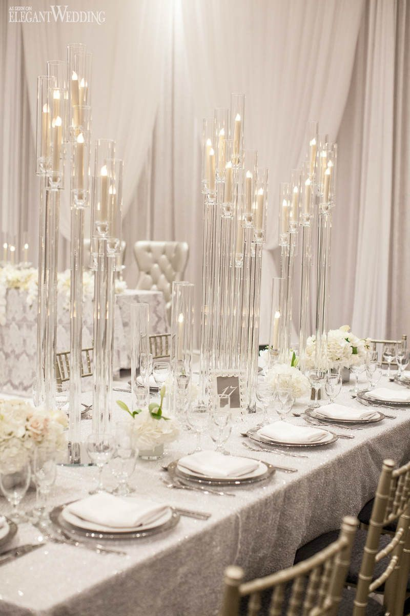 An Ultra Modern White Wedding Elegantwedding Ca Candelabra Wedding Centerpieces White Weddings Reception White Wedding Decorations