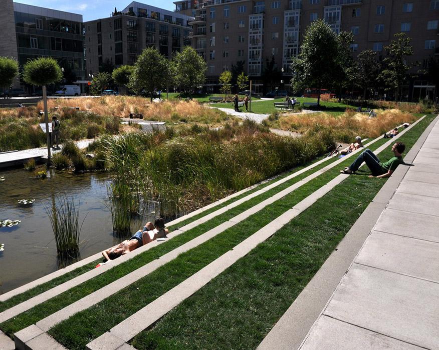Tanner Springs Ramboll Studio Dreiseitl Landscape Architecture Platform Landezine Landscape Architecture Urban Landscape Design Landscape Design