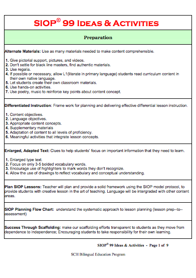 HereS A Set Of  Ideas And Activities For Use In The Siop Model