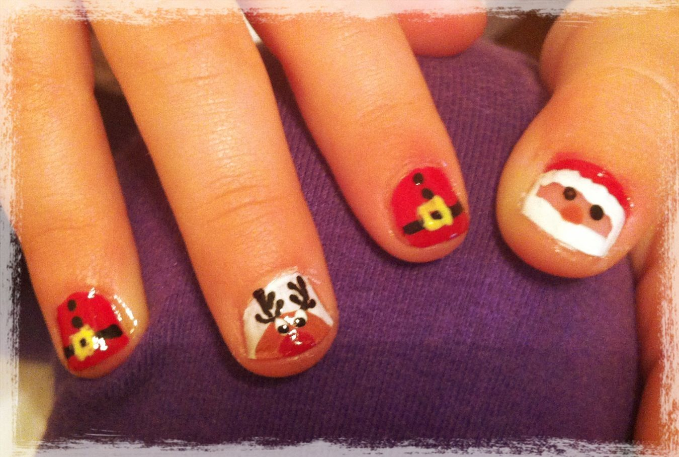 Kids Christmas nail art)