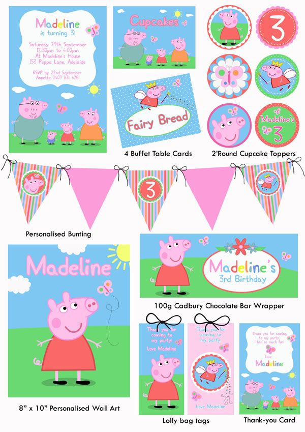 Personalised Party Printables Peppa Pig Party Peppa Pig Birthday Party Pig Party