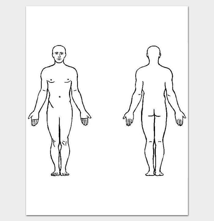 Body Outline Front And Back 11 Printable Worksheet Drawing For Pdf Body Outline Outline Alphabet Symbols