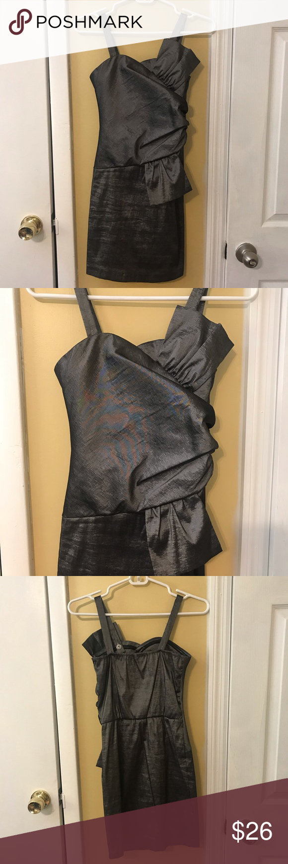 Sally Miller Couture Metallic/Silver Dress Sally Miller Couture Metallic/Silver Dress Size: 14 Excellent condition, comes from smoke free home. Only used twice. Elegant and classy, perfect for any formal event or a night out. Dress has adjustable button straps. Can also be worn strapless. Sally Miller Dresses #sallymiller