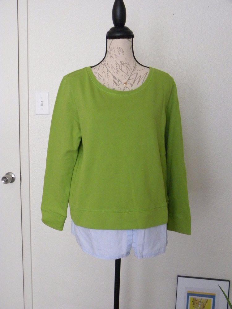 97b9dda5 Liz Claiborne Green Lime Women's Sweat Shirt Tee long Sleeve Layered Size  XL #LizClaiborne #Layered