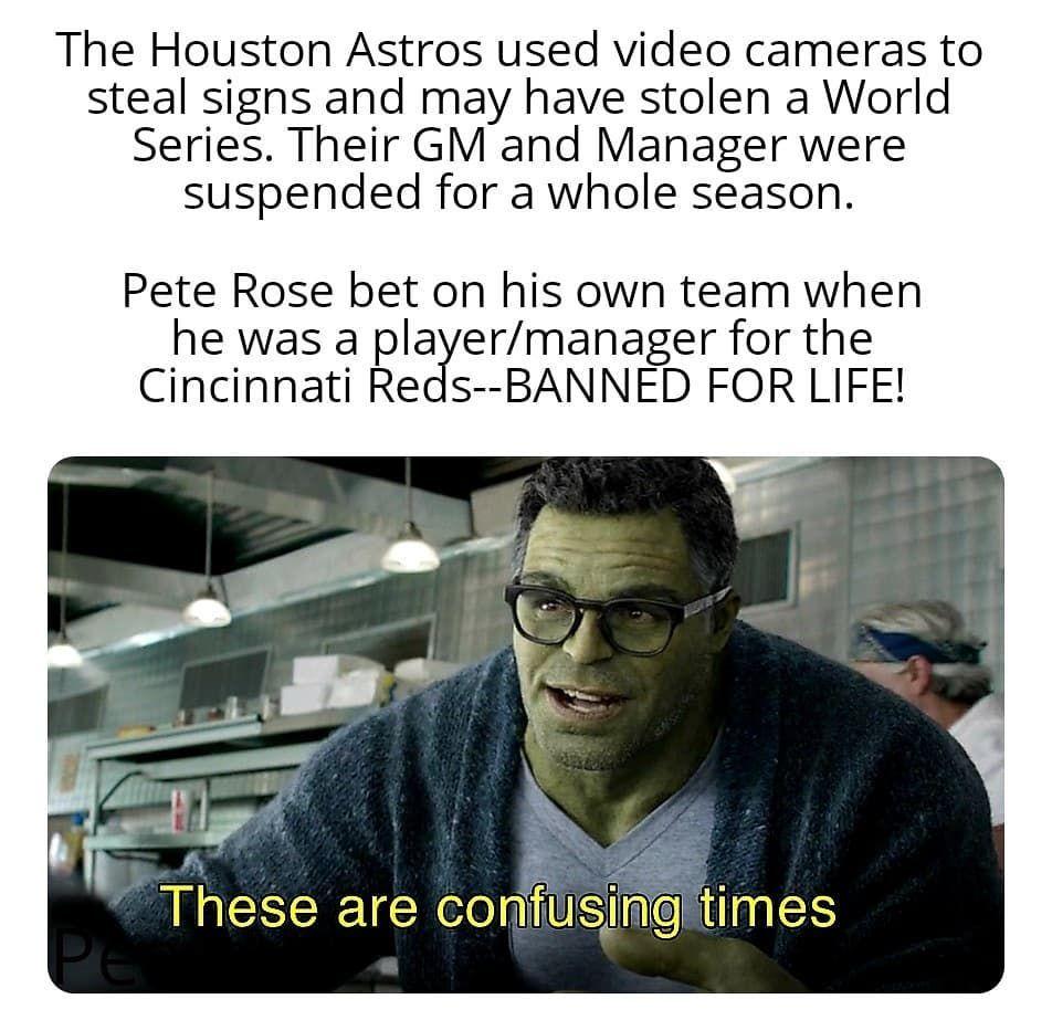 Houstonastros Cincinnatireds Peterose Marvelcinamaticuniverse Memes Mlb Mlbmemes Marvelmemes Professorhulk Ave In 2020 Memes Quotes Cincinnati Reds Mlb Memes