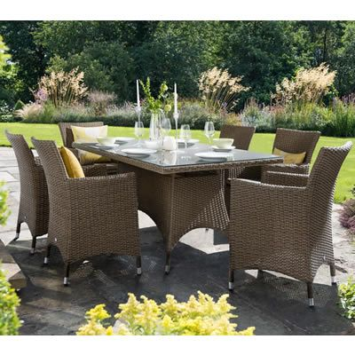 hartman madison 6 seat rectangular set sepiahenna brown rattan available to buy online from garden furniture world we sell a large range of garden