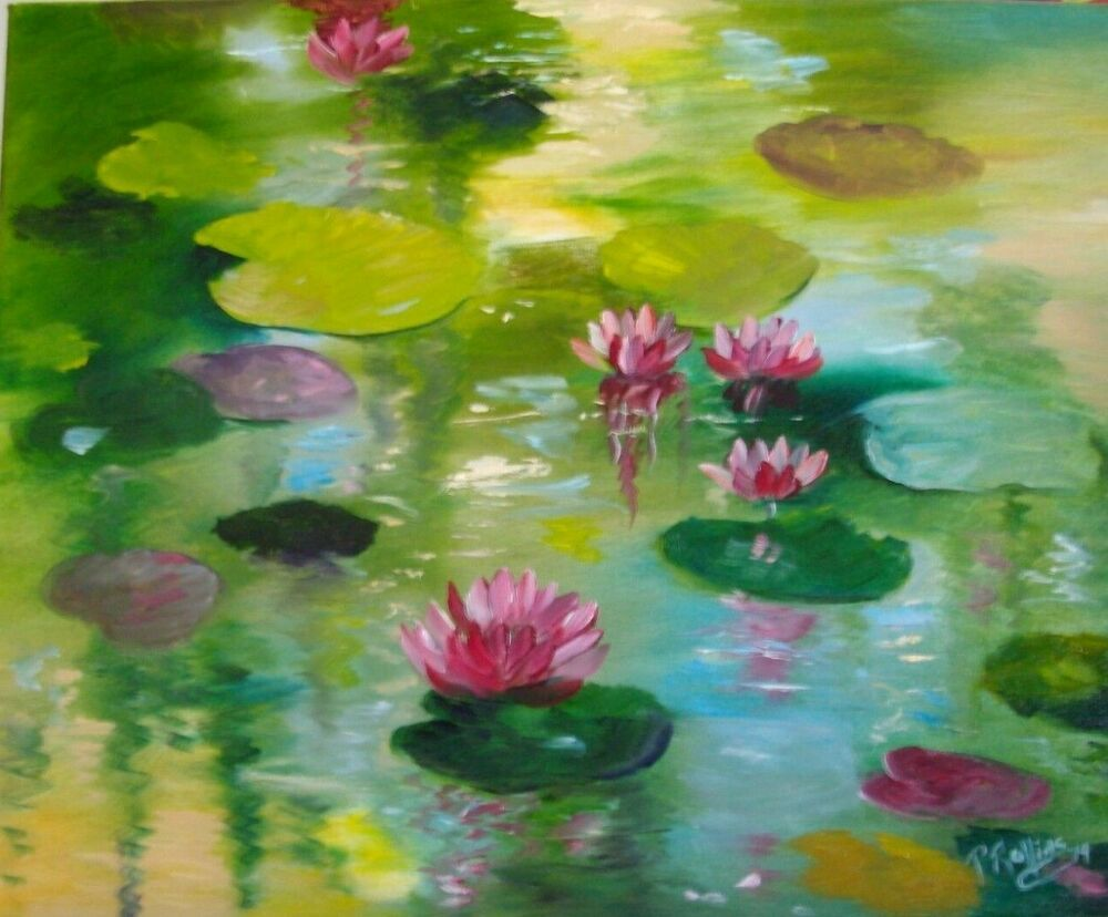 Water Lilies Lotus Flowers Pond 16 X 20 Oil On Canvas Florida Art Images, Photos, Reviews