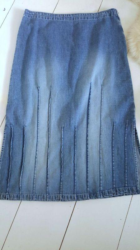 Jean Skirt Size 16 XLarge Long Denim Straight Side Slits Christopher & Banks #ChristopherBanks #StraightPencil