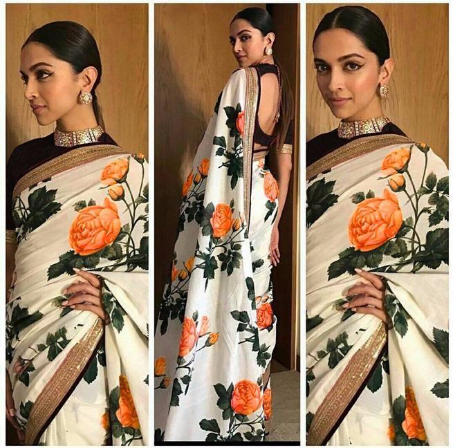 Multicolor Deepika Padukone Flower Print Vetless Georgette ...