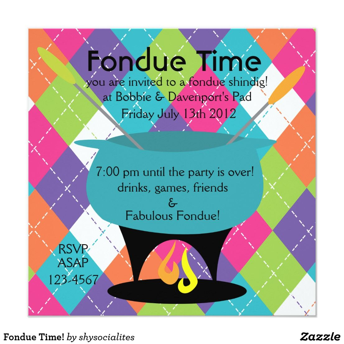 Fondue Time! Card | Party invitations