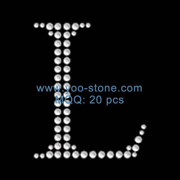 Cheap Iron On L Capital Letter Rhinestone Transfer  Inches