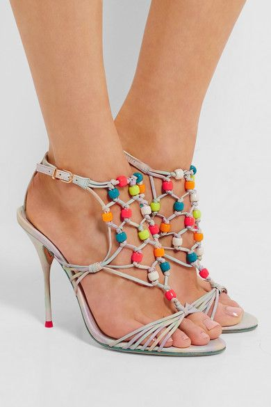 Heel measures approximately 110mm/ 4.5 inches Multicolored leather Buckle-fastening ankle strap ImportedSmall to size. See Size & Fit notes.
