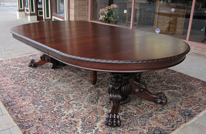 Ribbone Mahogany Lions Claw Foot Dining Table