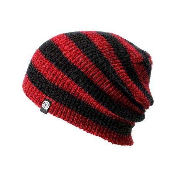 64a84f38f Aperture Estebon Red Black Stripe Beanie ($18) ❤ liked on Polyvore ...