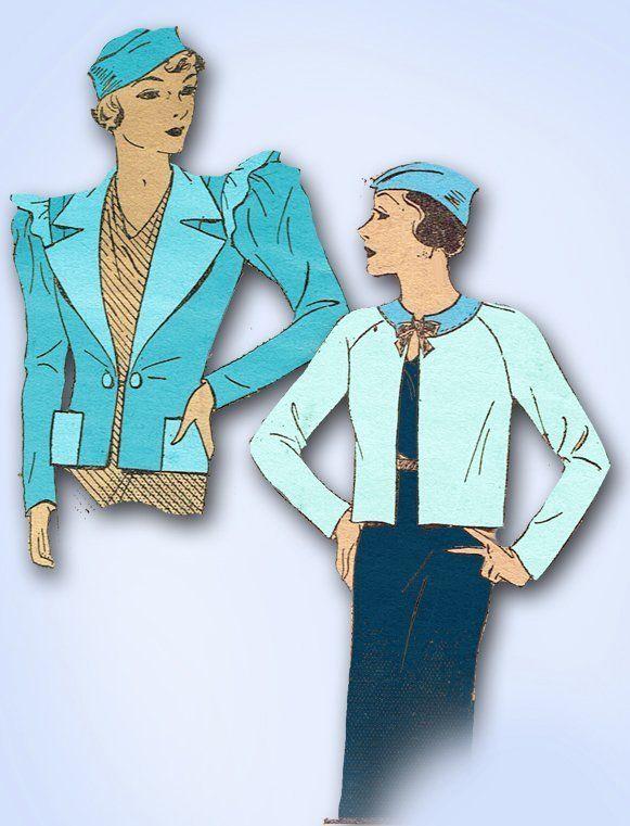 1930s ORIGINAL Stunning Pictorial Review Set of Jackets Pattern Sz 30 B | eBay