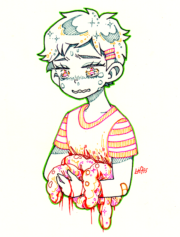 good kids in big trouble, inktober + goretober day 6&7; cannibalism and gut...