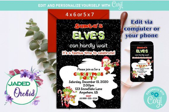 Christmas or Holiday Santas Elves Kids Party Invitation Template You