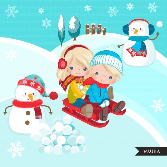 Winter Sled Snow Background With Snowman Clipart Sledding Etsy In 2021 Snowman Clipart Winter Sleds Winter Outdoor Activities