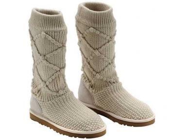 Cream Classic Argyle Knit UGG Boots .