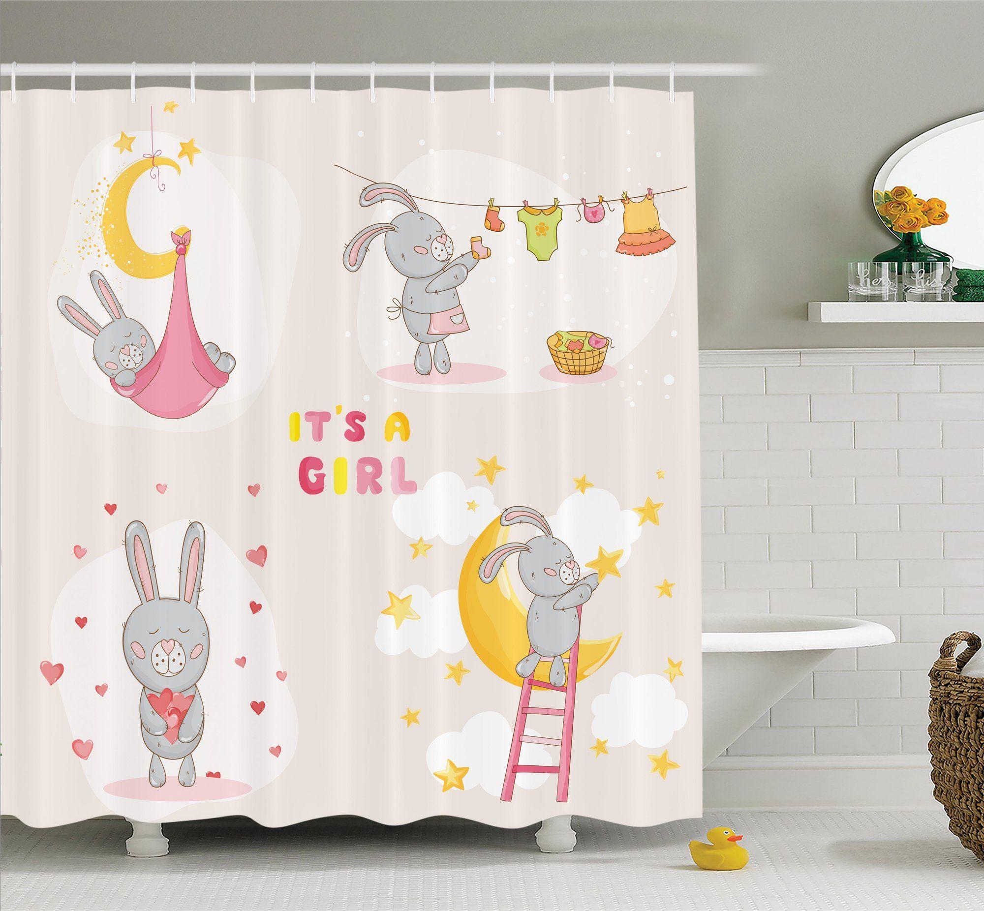 Kids Cute Bunny Baby Love Moon Shower Curtain Set Shower Curtain