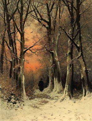 Friedrich Josef Nicolai Heydendahl   A Winter Woodland with a Woman Gathering Brushwood in the Evening Light   MutualArt