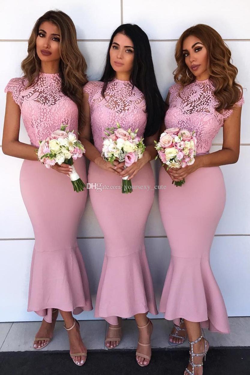 Elegant Pink Mermaid Bridesmaid Dresses High Neck Cap Sleeves Lace ...