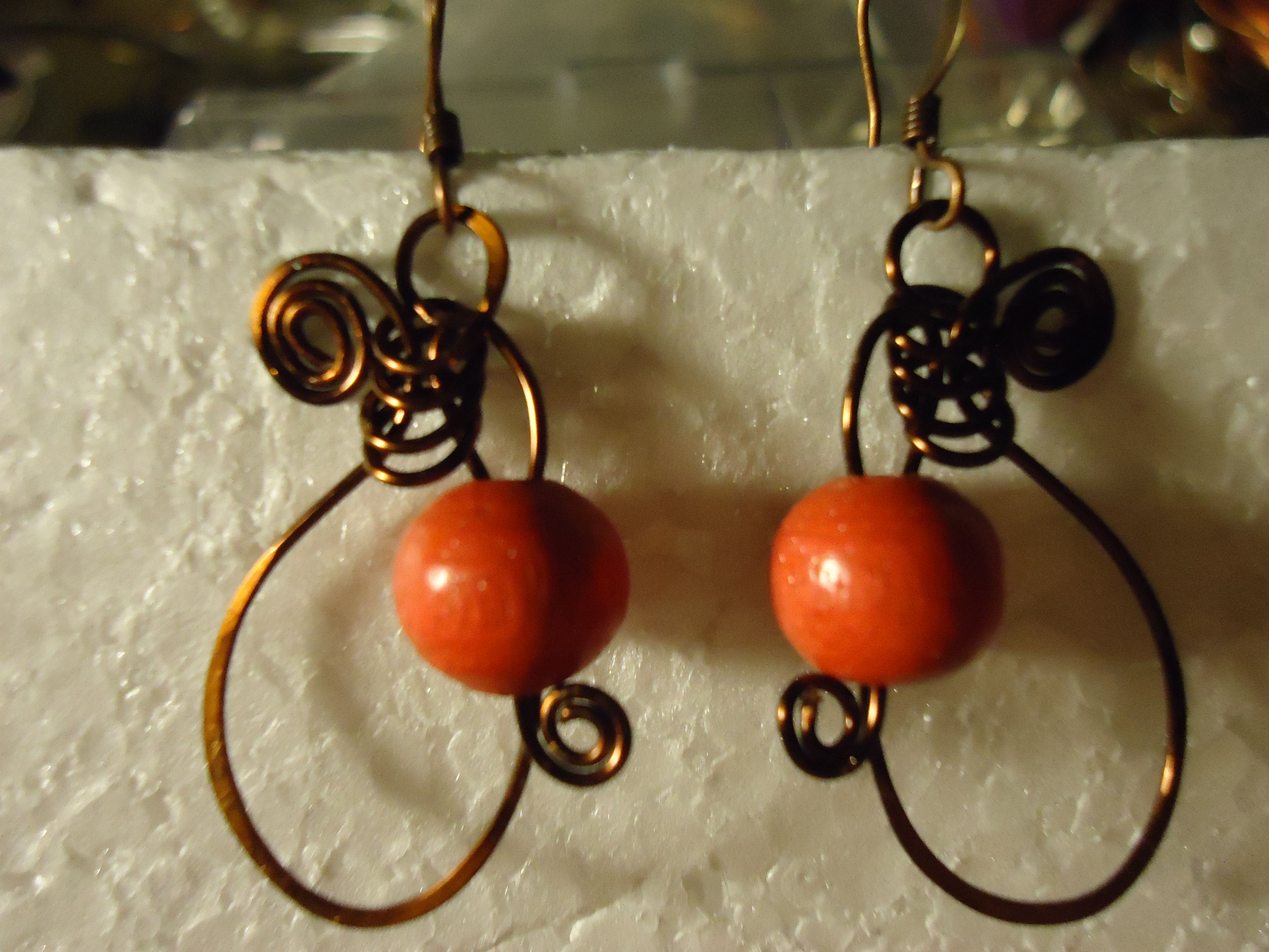 antiqued copper wire and wooden bead earrings
