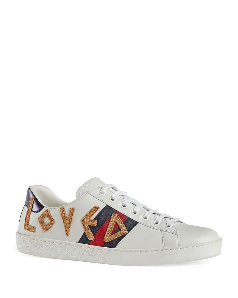 4957d1dfb0f eBay  Sponsored Gucci Men s Loved Leather Lace-Up Sneakers Size 7 White  Multi MSRP  670
