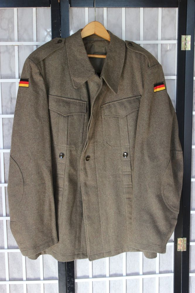 9efe0df7d60 Vintage German Army Olive Green Military Shirt Jacket Bundeswehr Size 46