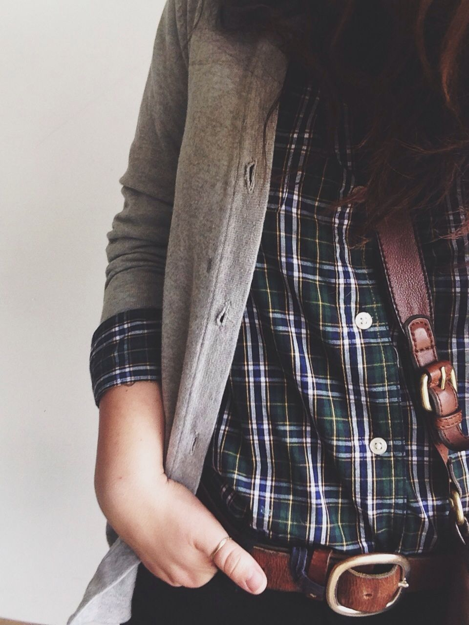 Red and black flannel cardigan  macedonianmess Monday threads  something fierce with these winds