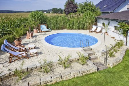 Stahlwand Pool Rundbecken 350 x 120 cm Gartenteich Pool - garten mit pool gestalten