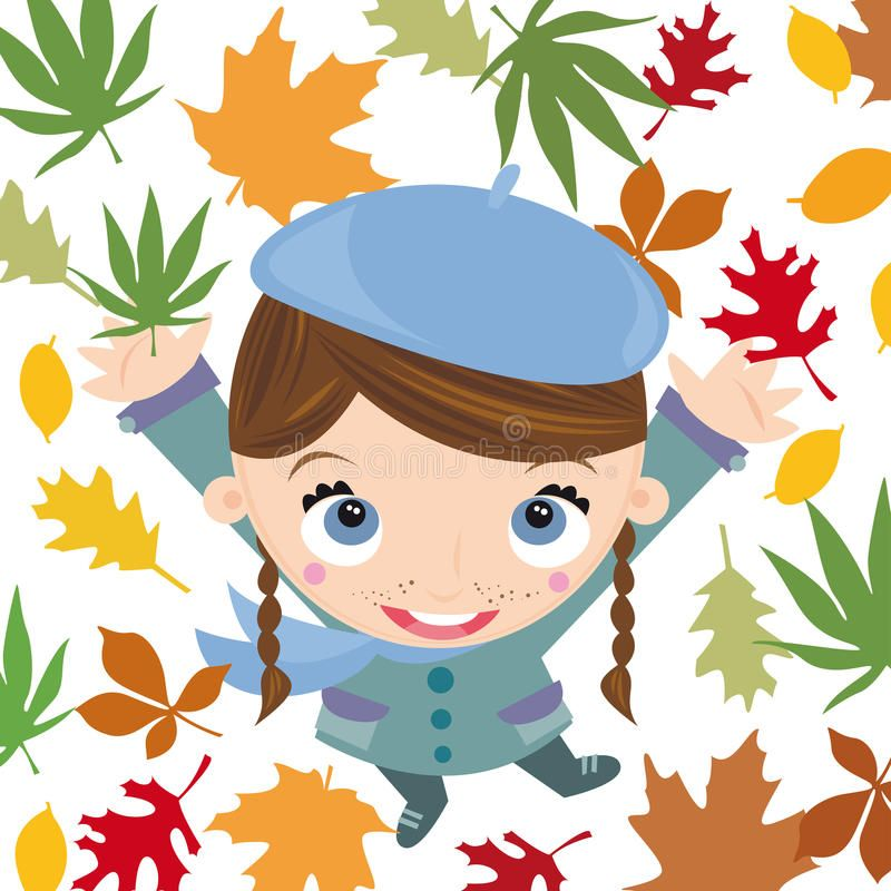 Autumn. Illustration of young girl with autumn scenery , #AFFILIATE, #young, #Illustration, #Autumn, #scenery, #autumn #ad #autumnscenery