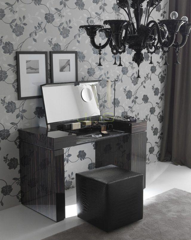 schminktisch ideen hochglanz schwarz holzmaserung spiegel nightfly, Möbel