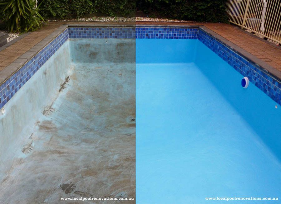 Before After Painted Pool Melbourne Victoria Australia
