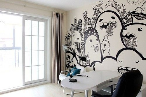 Creative hand painted wall home stuff pinterest - Unique ways to paint a wall ...