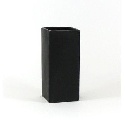 "WGVInternational Square Ceramic Block Table Vase Color: Black, Size: 12"" H x 5"" W x 5"" D"