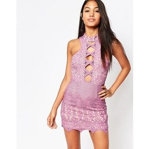 Love Triangle Lace Cut Out Front Mini Dress