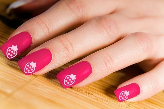 Pink with Strawberries Nail Art Design