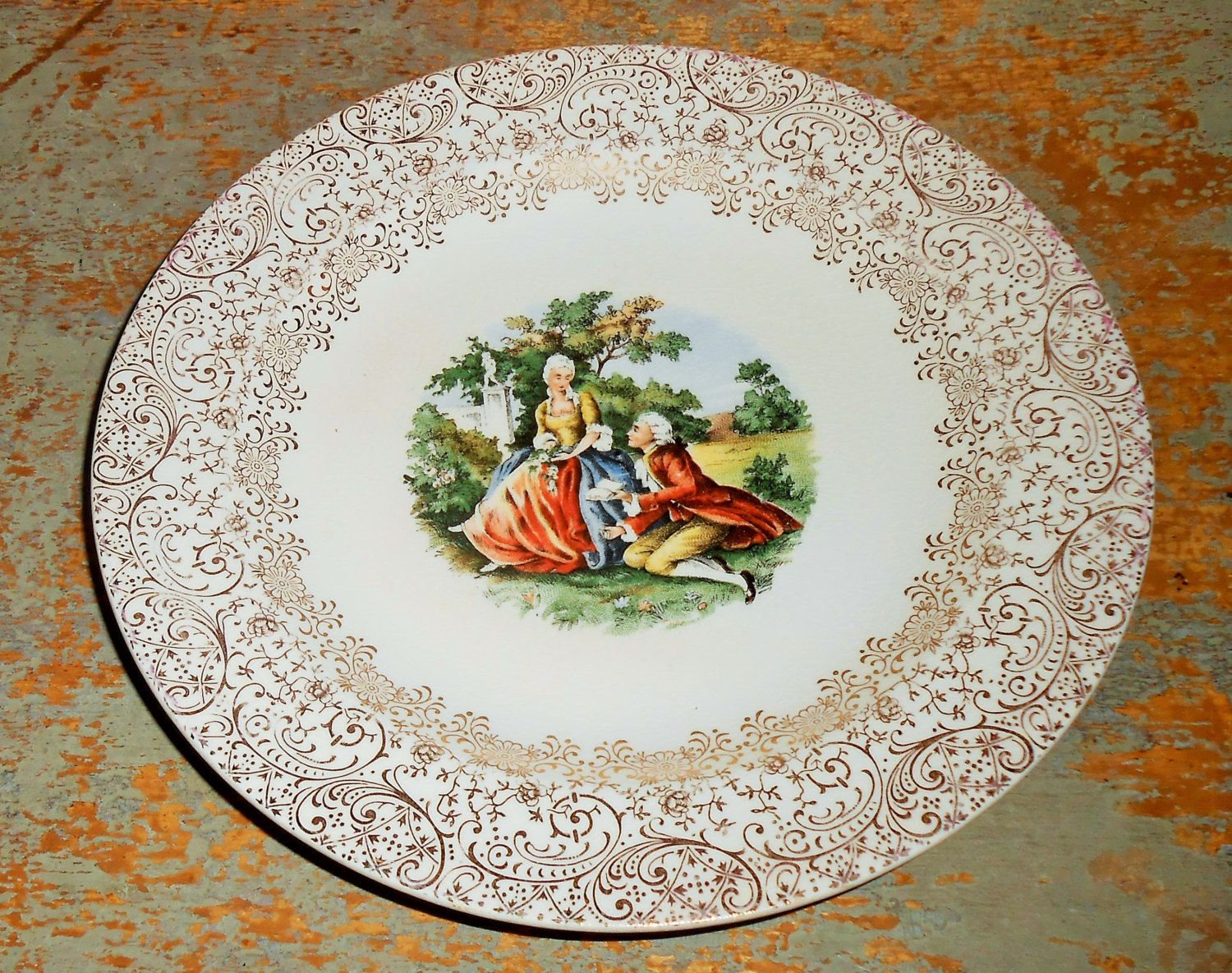 Vintage Plate, Royal China, Colonial Gold, 22 K, Warranted Gold ...