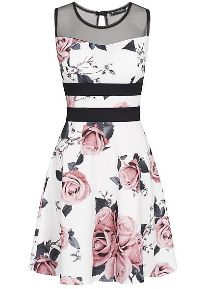 Styleboom Fashion Damen Mini Kleid Blumen Print Brustpads Mesh ...