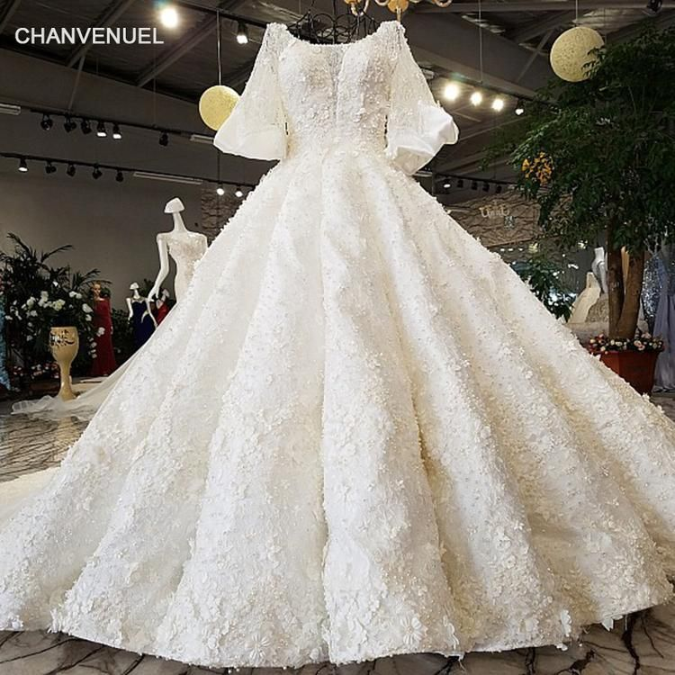 e8ec0b6323 LS92104 2018 Luxury wedding dress o-neck lantern sleeve ball gown lace –  Azongalbridal
