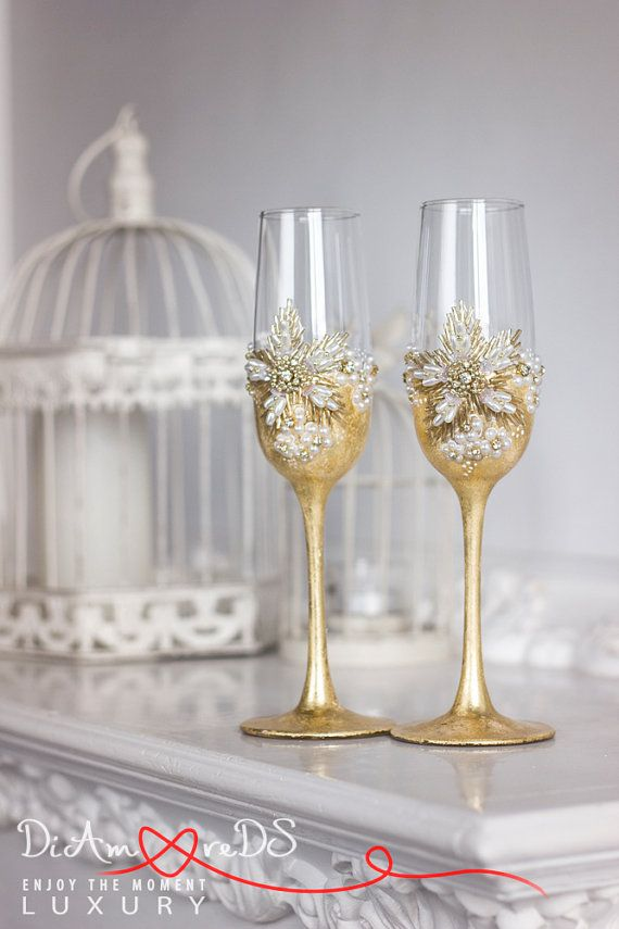 Pearl And Gold Personalized Wedding Set Champagne Flutes Wedding Toasting Flutes Set Flute Engraved Champagne Glasses Server Gift Set Toasting Flutes Wedding Wedding Champagne Flutes Gold Wedding Toasting Glasses