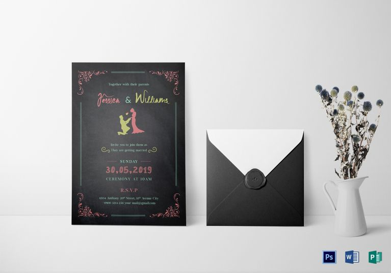 Chalkboard Wedding Invitation Template Formats Included MS Word